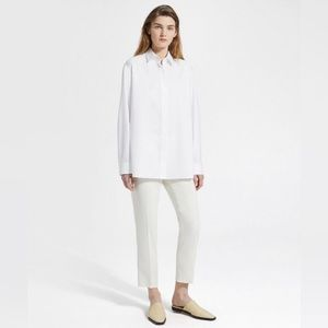 NEW Theory Ivory Pleated Cropped Pull On Pant